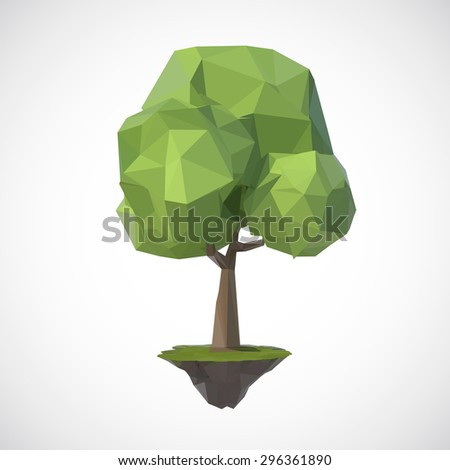 Tree on floating island, low poly style. - stock vector