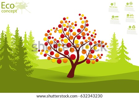 Tree on green grass. Eco friendly. The concept of ecology with the background of the tree. Template coniferous forest silhouette. landscape. Nature. Illustration.