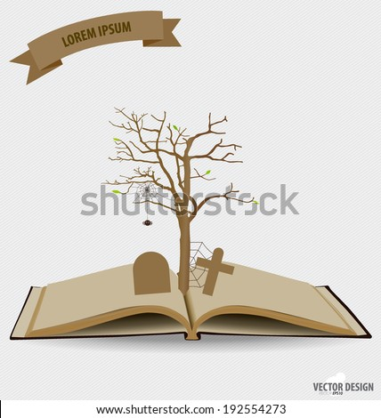 Tree on opened book. Vector illustration.