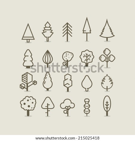 Tree outlines - stock vector