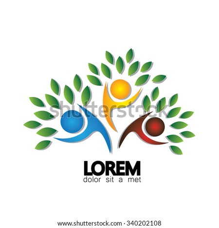 tree person logo vector icon representing friendship, embracing, hug, friendly, education, learning, happiness, joy, freedom, being together, lively, joy - stock vector