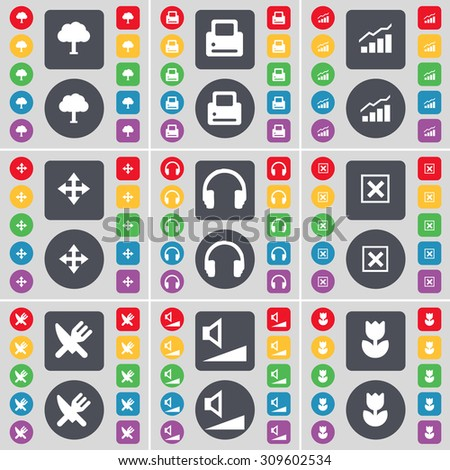 Tree, Printer, Graph, Moving, Headphones, Stop, Fork and knife, Volume, Flower icon symbol. A large set of flat, colored buttons for your design. Vector illustration - stock vector