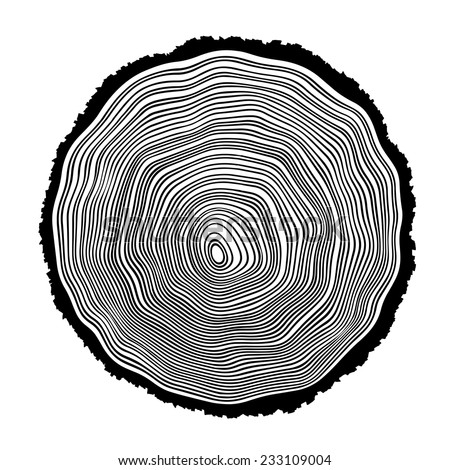 Tree rings background illustration - stock vector