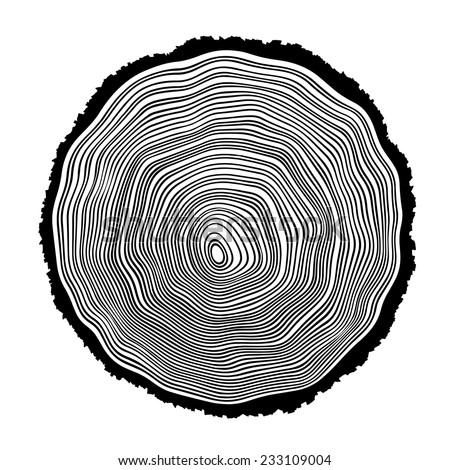 Tree rings background illustration - stock vector