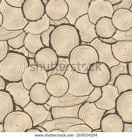 Tree rings saw cut tree trunk background. Seamless wallpaper. Vector - stock vector