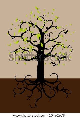 tree roots on a dark background vector - stock vector