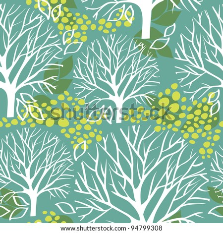 tree seamless pattern - stock vector