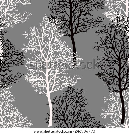 Tree seamless pattern, background. Tree without leaves isolated on a grey background. Vector. - stock vector