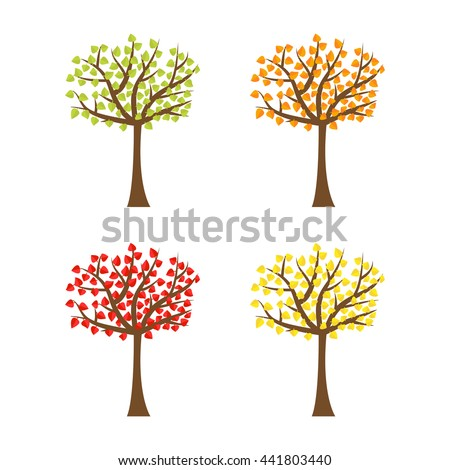 Tree set with different color leaves. Trunk silhouette. Deciduous tree in summer, autumn, spring season. White background. Isolated. Flat design. Vector illustration