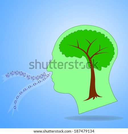 Tree shaped like a human brain inside a head, breath Into water and oxygen, Eco thinking concept - stock vector