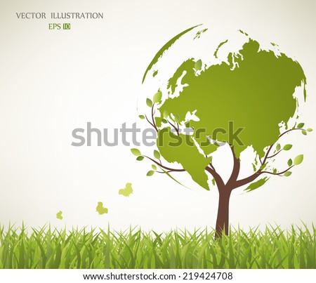 Tree shaped like the World map - stock vector
