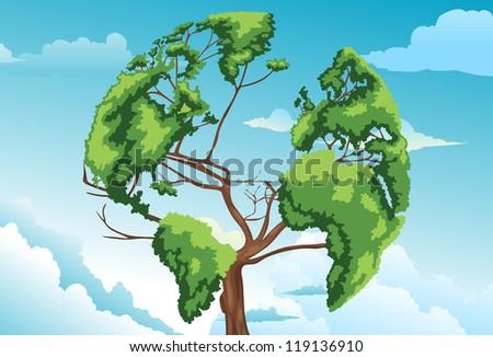 Tree shaped world map vector - stock vector