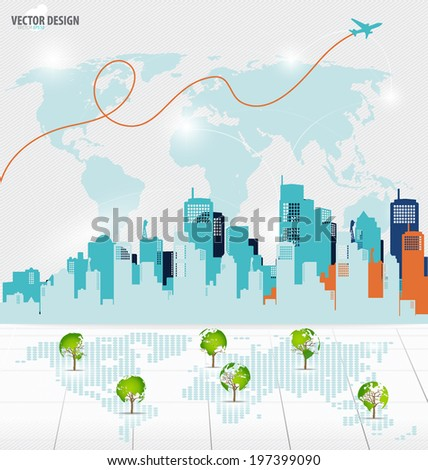 Tree shaped world map with building background. Vector illustration. - stock vector