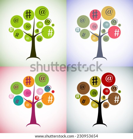 tree sign hashtags - the Internet, chat, social network concept. ecology, modern society, global natural and computers, man's dependence on gadgets. Tree in different colors. - stock vector