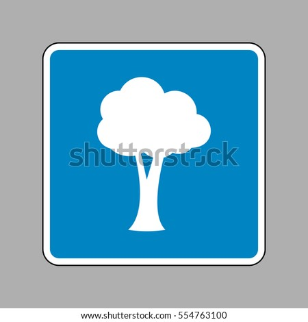 Tree sign illustration. White icon on blue sign as background.