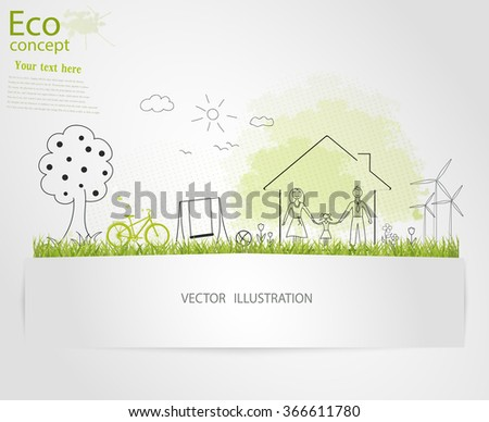 Tree silhouette, family, home, bike, mill on the green grass. Ecologically clean world. Vector illustration of ecology the concept of information graphics. Doodle. Handwriting - stock vector