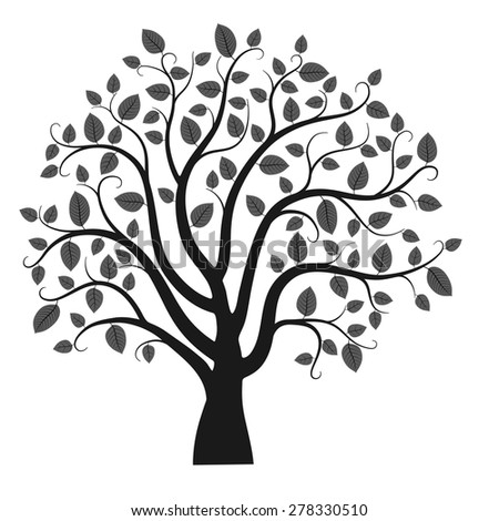 Tree silhouette isolated on white background, vector illustration - stock vector