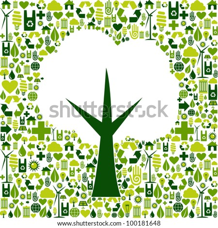 Tree silhouette made with green icons collection. Vector file available. - stock vector