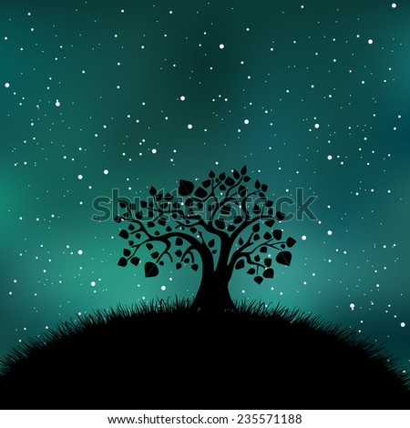 Tree silhouette on night time starry sky. Galaxy, universe, nature vector illustration. Countryside abstract landscape.