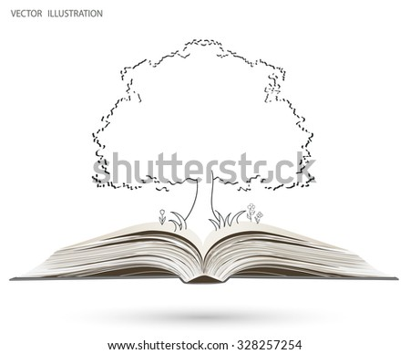Tree silhouette on open book. Background. Vector illustration of ecology the concept of info graphics modern design. Insert the text. Doodle - stock vector