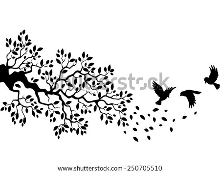 Tree silhouette with birds flying - stock vector