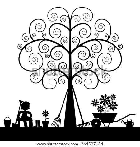 Tree Silhouette with Gardening Tools and Sitting Man Vector Illustration - stock vector