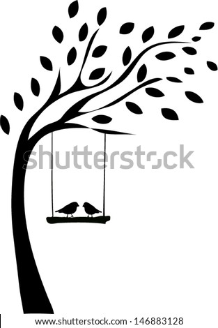 Tree silhouette with two birds - stock vector