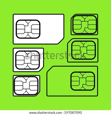 Tree size of sim cards, mini sim, micro sim, nano sim, Vector graphic - stock vector