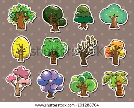 tree stickers - stock vector