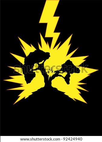 Tree Struck by Lightning - stock vector