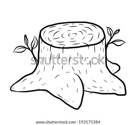 Tree Stump Cartoon Vector And Illustration Black White Hand Drawn Sketch