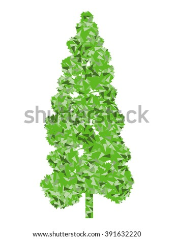 Tree stylized green spring and summer eco symbol concept made of fragments - stock vector