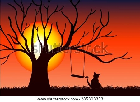 tree sunset vector illustrator design