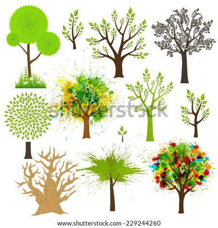 Tree super collection of different styles - stock vector
