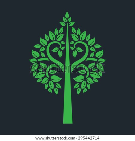 tree symbol with Thai art style isolated on dark background, vector illustration