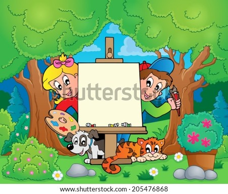 Tree theme with painting children - eps10 vector illustration. - stock vector