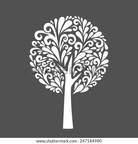 Tree. Vector decoration made from swirl shapes. Simple decorative gray and white illustration for print, web. - stock vector