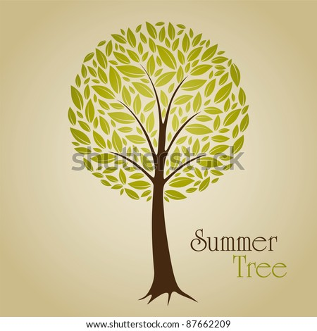 Tree vector illustration with green leafs. Nature symbol graphic design. - stock vector