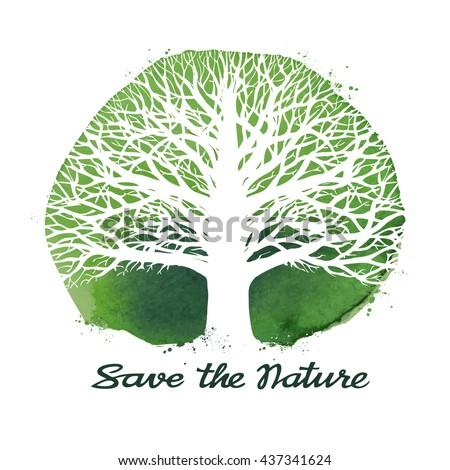 Tree vector logo. Ecology, nature symbol. Environment, leafless tree icon - stock vector
