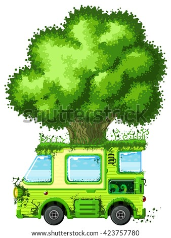 Tree vehicle ecology cartoon design element, isolated vector  - stock vector