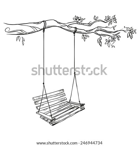 tree with a swing. Vector illustration.   - stock vector