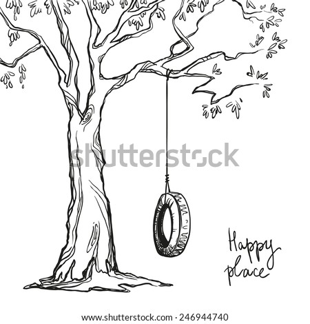 tree with a tyre swing. Vector illustration.   - stock vector