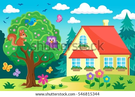 Tree with animals near house - eps10 vector illustration.