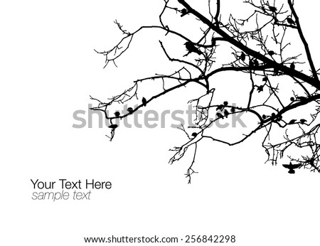 tree with birds - stock vector