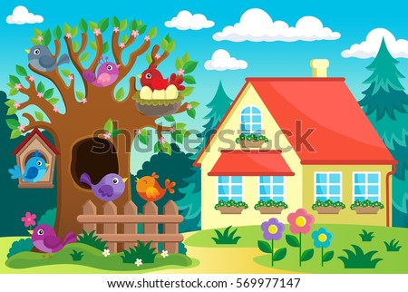 Tree with birds near house - eps10 vector illustration.