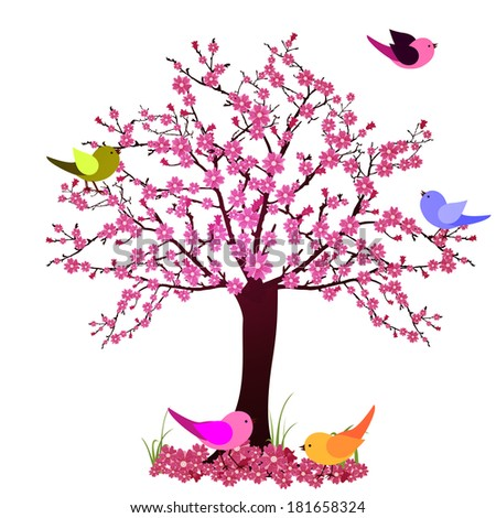 Tree with birds - vector