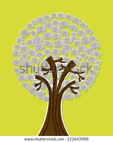 tree with books over green background. vector illustration