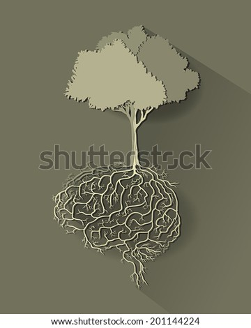 tree with brain root, vector style paper cut. - stock vector