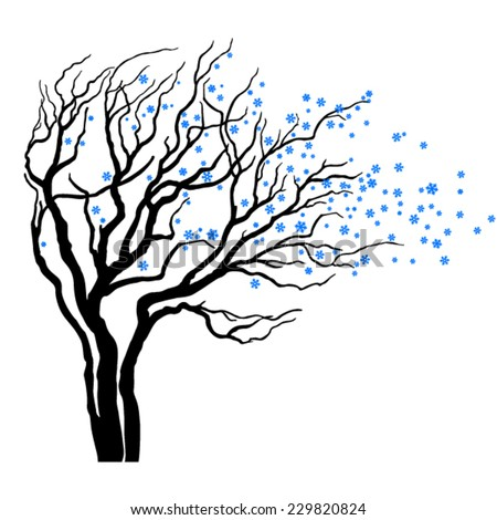 tree with branches full of snowflakes in wind - stock vector