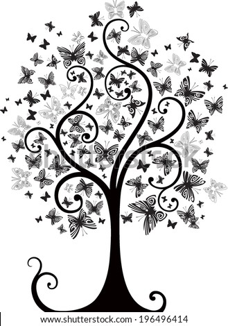 Tree with butterflies (black and white) - stock vector